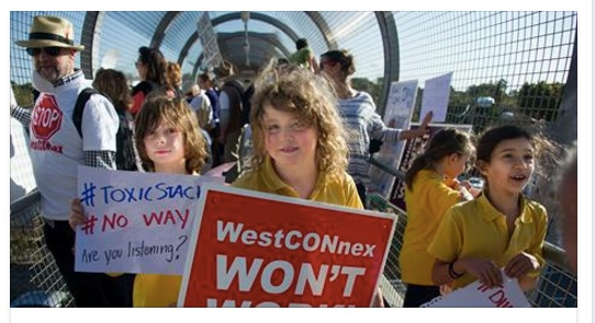 Anti-Westconnex after school protest on pedestrian bridge across Parramatta Road, 2015