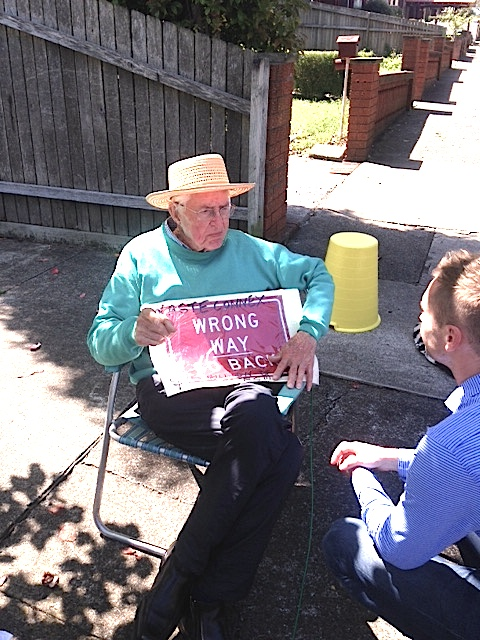 96 year old resident Ray Harrison lives close to what could become a massive contruction site for tunnel exit and ventilation stack. He has been regularly protesting on the streets of Haberfield