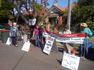 Residents protesting in Haberfield in 2014. Originally wrongly labelled as last week