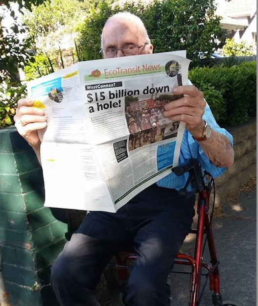 Aurelia's 96 year old neighbour Richard reading EcoTransit Sydney newspaper