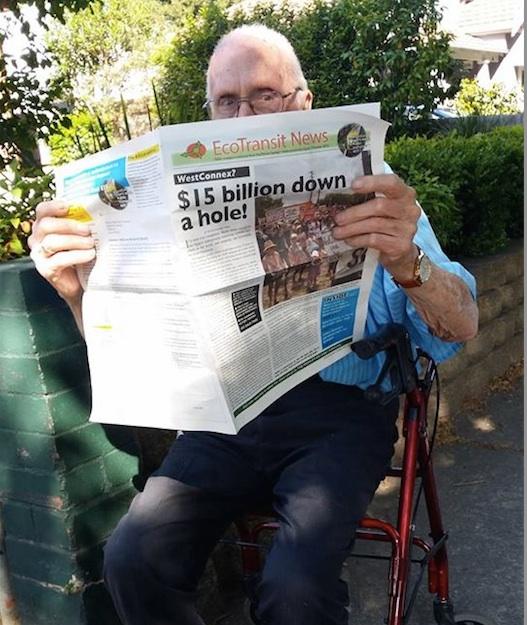 Aurelia's 96 year old neighbour Richard reading EcoTransit Sydney newspaper
